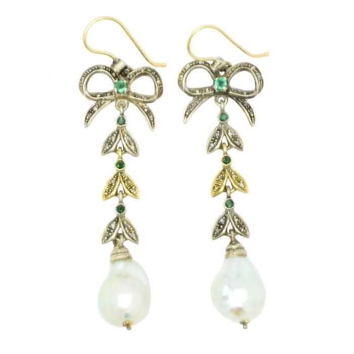 Online veilinghuis Catawiki: Antieke hanger oorbellen met diamanten, smaragden en parels