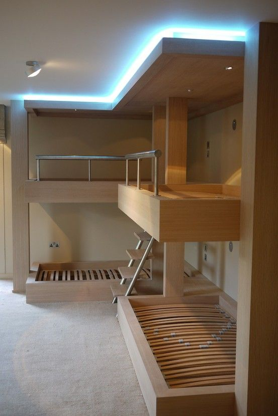 The ultimate L-shaped bunk beds in oak with lighting