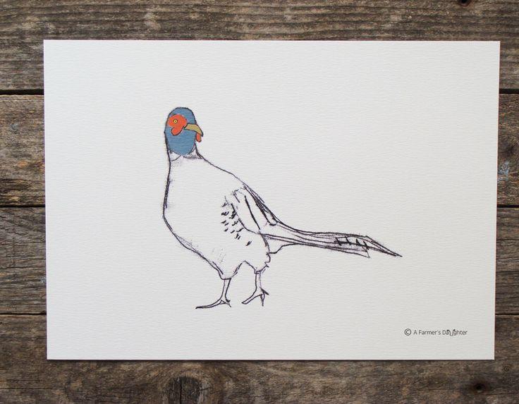 Pheasant Print by afarmersdaughteruk on Etsy https://www.etsy.com/uk/listing/194786465/pheasant-print