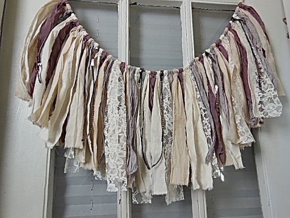 one of a kind rag banner fabric garland dusty plum by AgoVintage