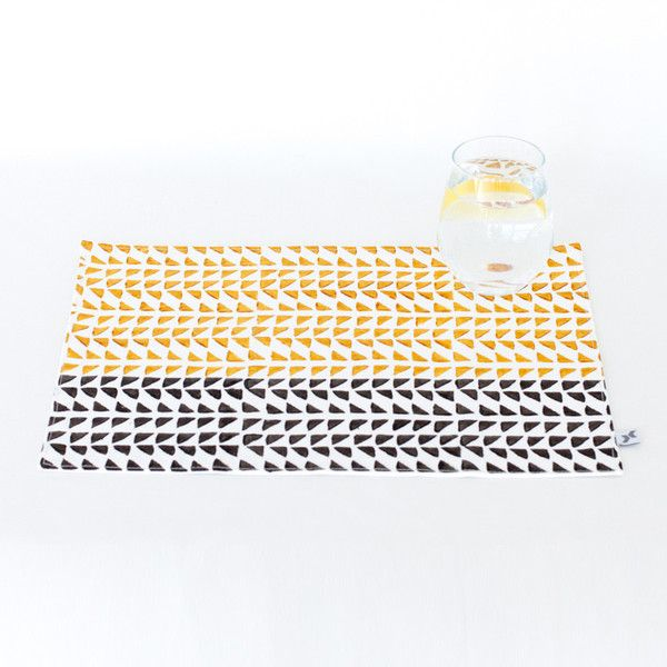 Block print ethical yellow triangle Placemat | The Woven Trail