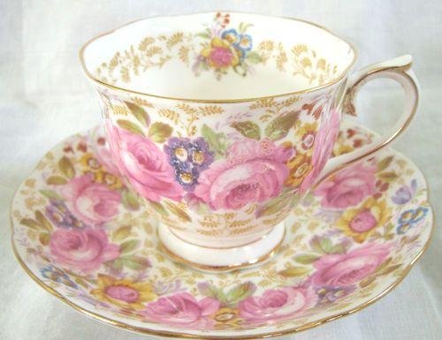 Royal Albert Tea Cup & Saucer - Serena Pattern - Malvern Shape - Bone China