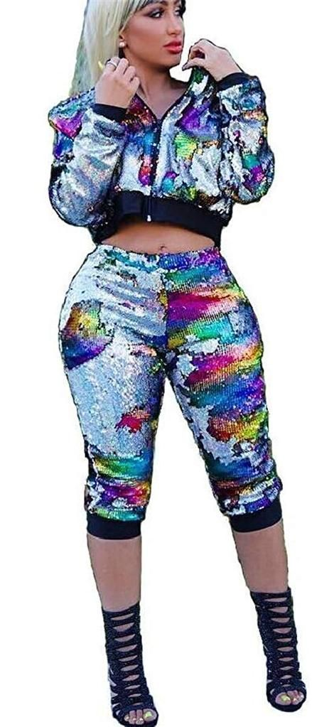 616fc8808580 Women's Sexy 2 Pieces Sequins Zipper Jackets Bodycon Capri Pants Party  Clubwear Tracksuit Outfits Set