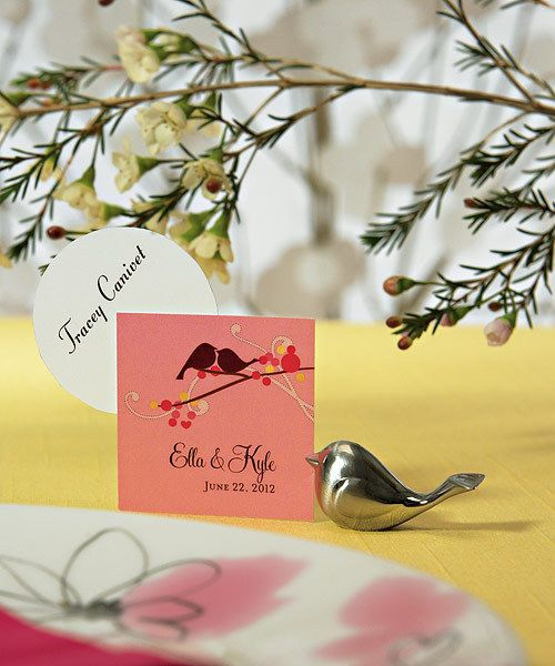 Love Bird Card Holders with Brushed Silver Finish - Pink Frosting Wedding Shop