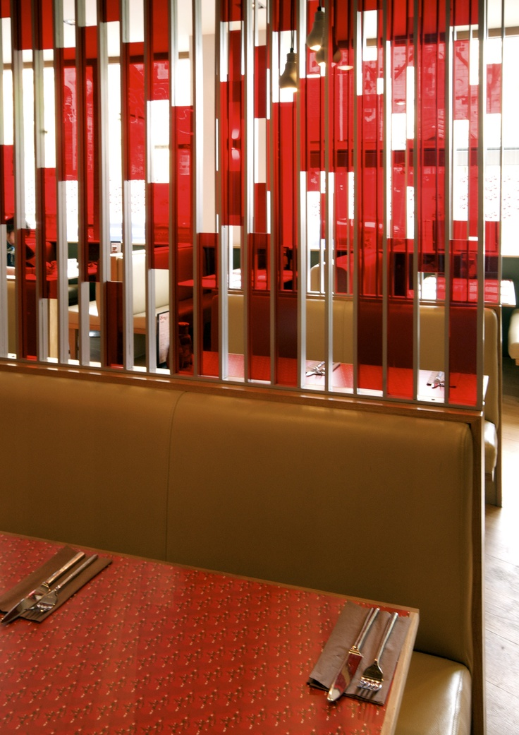 Ketchup restaurant Formica Bespoke screen-print furniture components