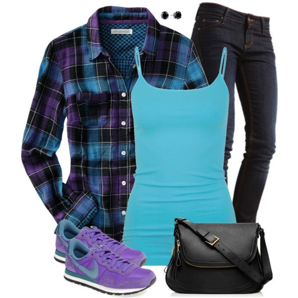 Violet and Blue Plaid Shirt, created by daiscat on Polyvore