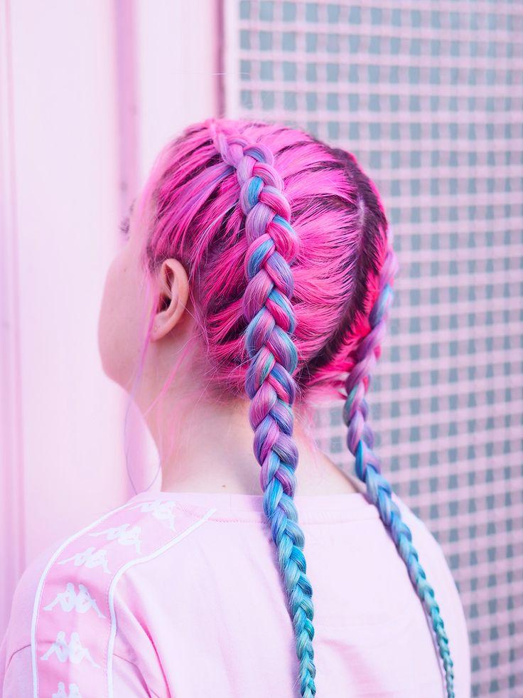 Cheveux rose et bleu