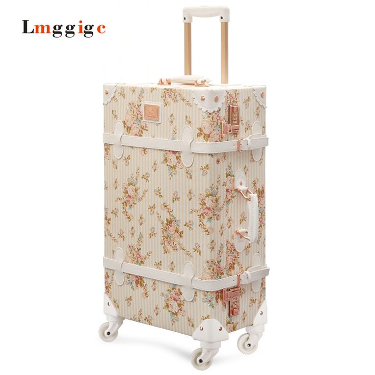"""Vintage Luggage Carry-Ons,PU Leather Suitcase Travel bag,20""""24""""26""""inch Women universal wheels Carrier ,High quality Trolley"""