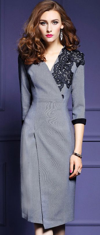 Embroidery Lace Three Quarters Sleeve Asymmetric Bodycon Dress