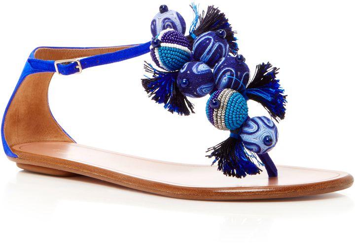 Aquazzura Tropicana Embellished Suede Sandals