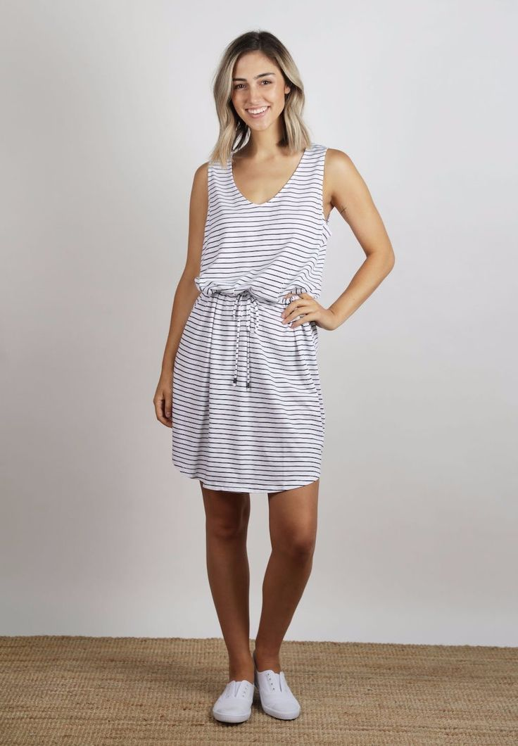 Ellis & Dewey - Stripe Waist Tie Jersey Dress