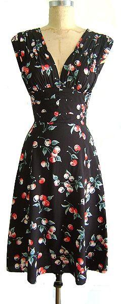 1940s Dress in Cherries.