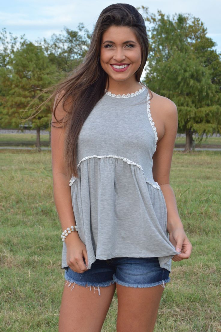 Heather Grey BabyDoll Racerback Top With Back Zipper