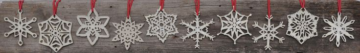 10 different snowflake designs. By Hakah Ceramics