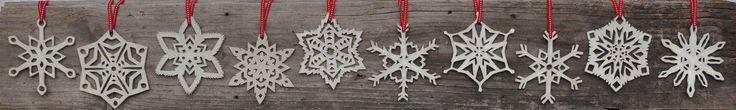 10 different snowflake designs. By Hakah Ceramics