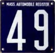 A picture of one of the earliest license plates, issued by Massachusetts in 1903. - Picture courtesy of the Massachusetts Registry of Motor Vehicles.