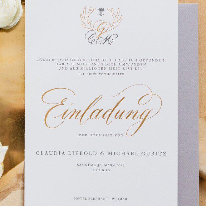Einladung Mit Kalligraphie In Gold Lettering Einladungen Diamantene Hochzeit