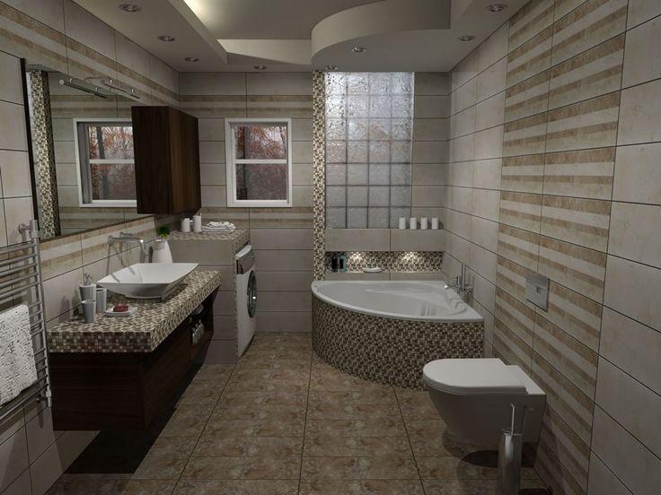 Όψη του μπάνιου από την είσοδο. Στην δεξιά γωνία τοποθετήθηκε γωνιακή μπανιέρα με διάσταση 120 x 120 cm, η οποία εξωτερικά επενδύθηκε με ψηφίδα και οριοθετήθηκε από την αριστερή πλευρά με τον υπόλοιπο χώρο με μία κάθετη στήλη από το δάπεδο έως την οροφή.