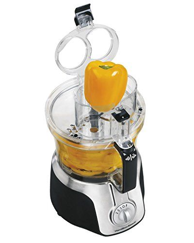 Hamilton Beach Big Mouth Deluxe 14-Cup Food Processor.FAQ    How do I lock the food processor bowl?     Align the cutout notches of food processor bowl and base. Holding  handle firmly turn bowl cloc...
