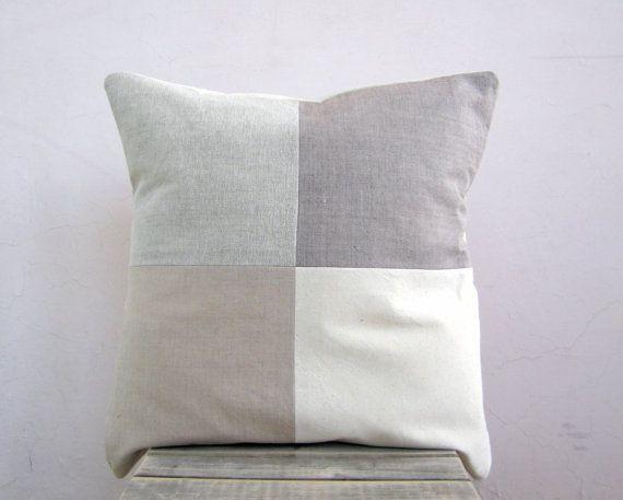 Modern throw pillow: organic cotton colorblock pillow, geometric decorative pillow cushion cover via Etsy