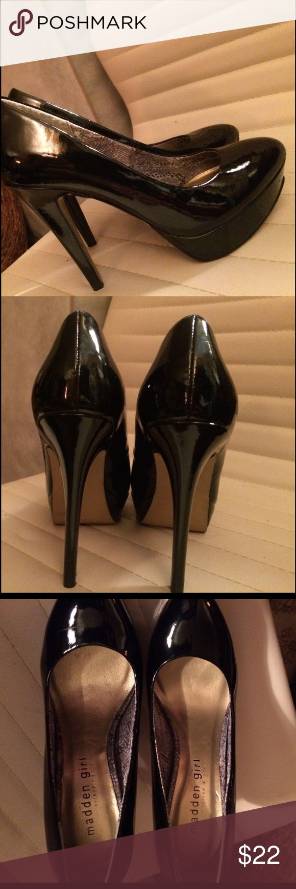 Steve Madden patent leather pumps Gorgeous Steve Madden black patent leather stelleto pumps Madden Girl Shoes Heels