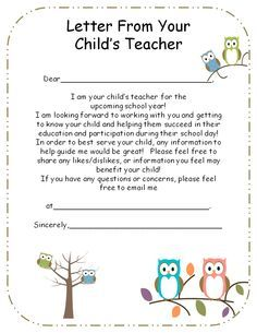 introduction letter to parents from preschool teacher - Google Search