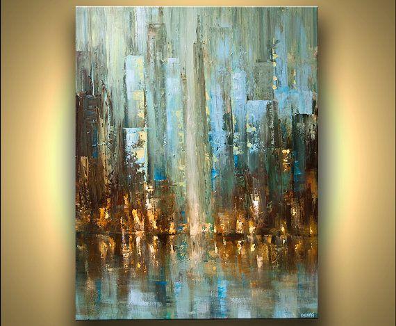 """Ciudad de Resumen ORIGINAL pintura abstracta moderna acrílico espátula pintura centro ciudad por Osnat 48 """"x 36"""" grande"""