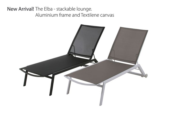 The Elba stackable lounge. Aluminum frame and Textilene canvas. Comes in two great colours  Visit www.mandalay.dk
