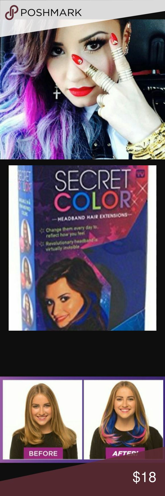 Secret color Demi lovato blue hair extensions 14in Beautiful Demi color head band hair extensions 14inches long all around color BLUE u can style the extension to your desire! very easy to do brand NEW in box sealed be er opened perfect for Halloween dress up!!  Keys cos play Lolita kawaii wig extension Halloween Kylie Jenner Mac sephora argan oil style mermaid ! Ulta mac sephora dye peek a boos highlightsv Sephora Accessories Hair Accessories