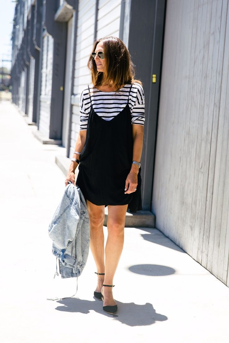 Black t shirt under button down - A Really Cool Way To Wear A Cami Dress For More Casual Occasions H X Shirt Under
