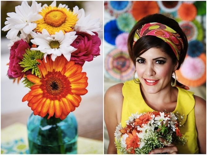 Colorful 1960s wedding inspiration