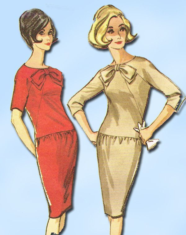 """McCall's Pattern 7494 Misses' Dress Pattern Fabulous Mid-century Modern Style Dated 1964 Complete Nice Condition 11 of 11 Pieces Counted. Verified. Guaranteed. Nice Condition Overall Size 12 (32"""" Bust"""