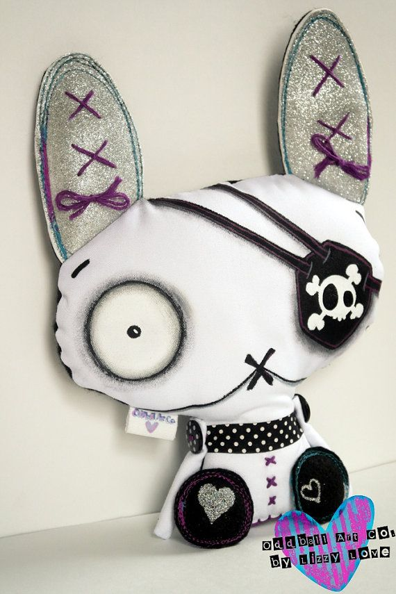 Art Doll Stuffed Plushie Soft Sculpture The Original Handmade Hand Painted Zombie Bunny Oddling Cooky McGoo