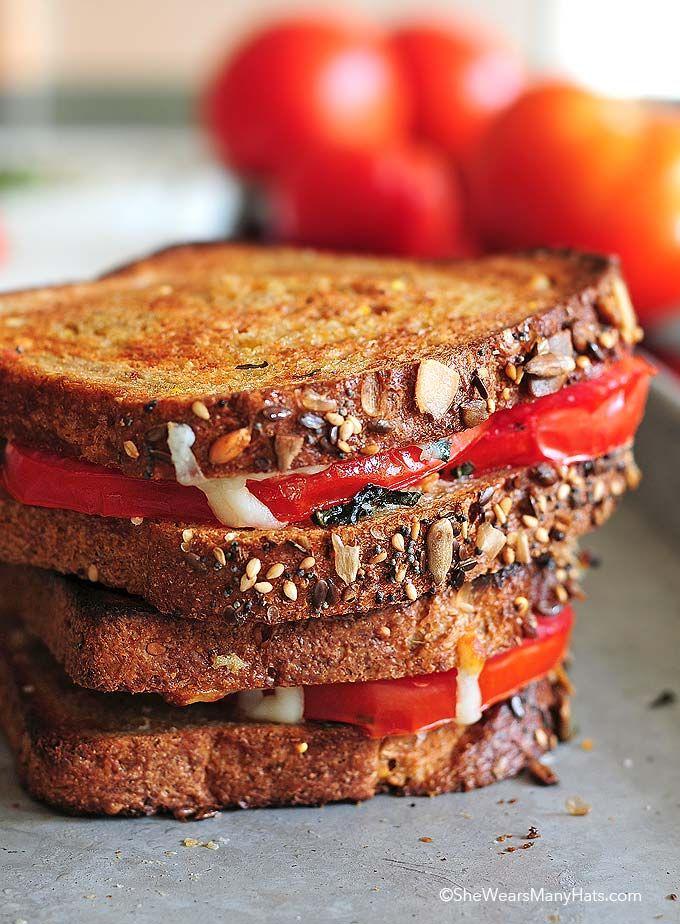 Mozzarella Basil Tomato Sandwich Recipe | http://shewearsmanyhats.com/mozzarella-basil-tomato-sandwich-recipe/