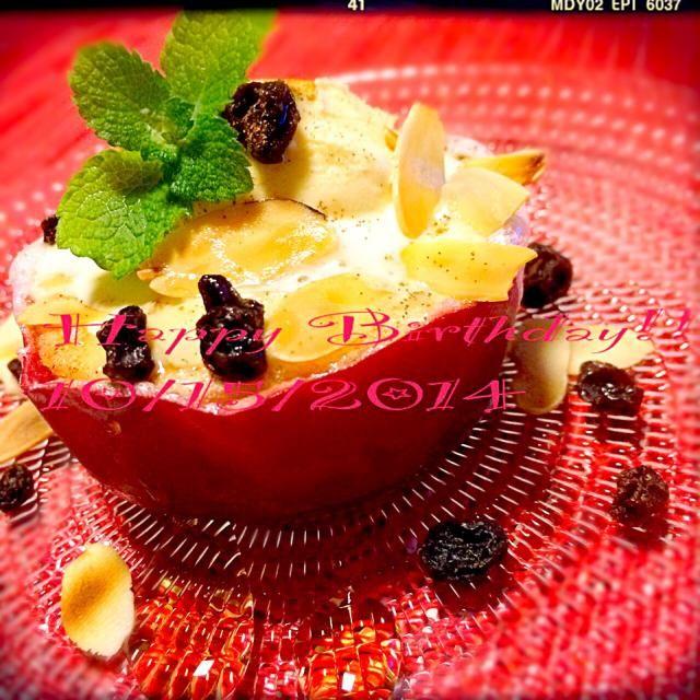 シェフ☆お誕生日おめでとうございます(((o(*゚▽゚*)o)))  初めて紅玉と、グランマニエを買いました~(≧∇≦)/ ゼイタク♬ 紅玉ってこんなに美味しいんだ~たくさんの方が作ってるの、納得(^^♪  いつもすてきなレシピを惜しげもなく、快く教えてくださって、本当にありがとうございます!! おかげでお料理がますます楽しくなりました(*'▽'*)♪  今日は最高に楽しいお誕生日をお過ごしくださいね(୨୧ ❛ᴗ❛)✧ - 282件のもぐもぐ - Chef 中川浩行さんの料理 焼きりんご! by suzuranranran