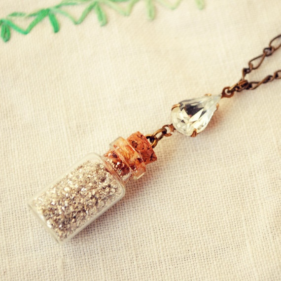 Tiny Bottle Necklace with Silver German Glass Glitter and Swarovski Crystal