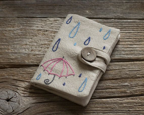 Credit Card Wallet with Raindrops and a Pink Umbrella, Linen and Cotton Card Hol…