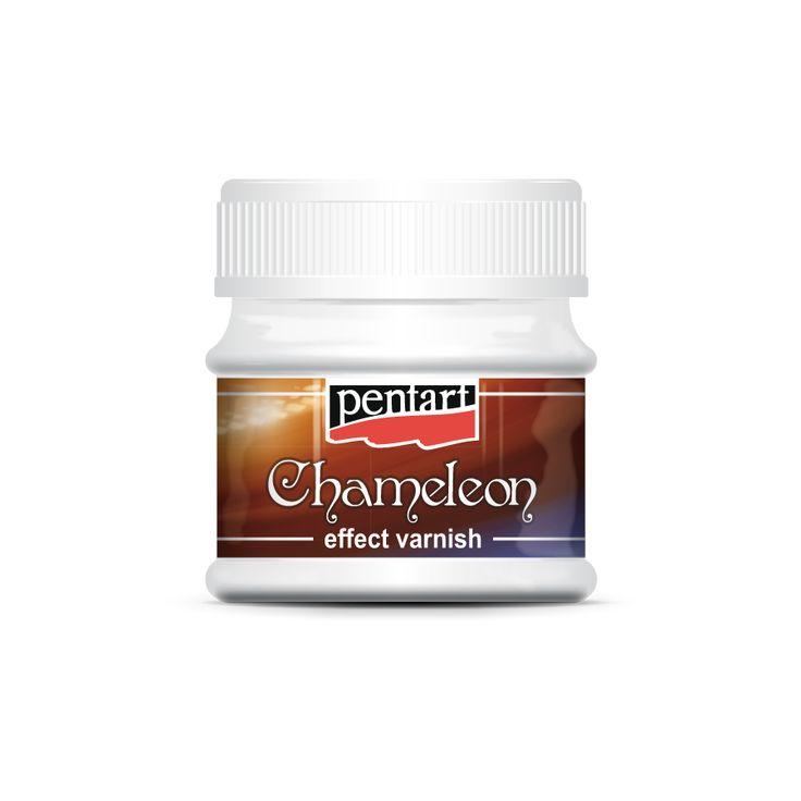 Chameleon effect varnish -   Chameleon lakkok //  Effektlakk a fémes ragyogásért. A már díszített tárgyat befejezésképp kenjük le Chameleon lakkal. Az így díszített tárgy élei és domborulatai fémes ragyogásúak lesznek úgy, hogy a lakk az alatta lévő díszítést nem fedi el.