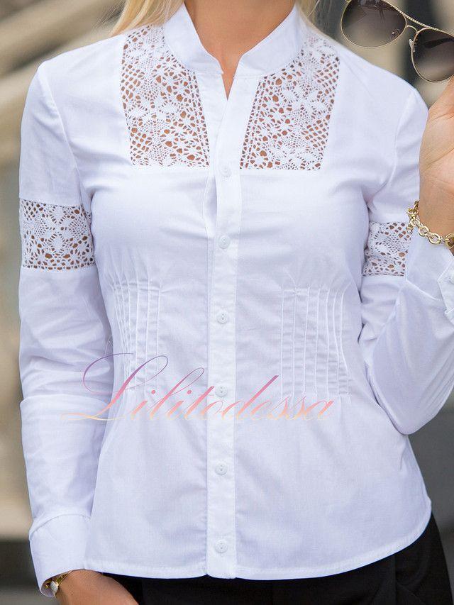 9b0520befc2 Рубашка с кружевными вставками белая в 2019 г.