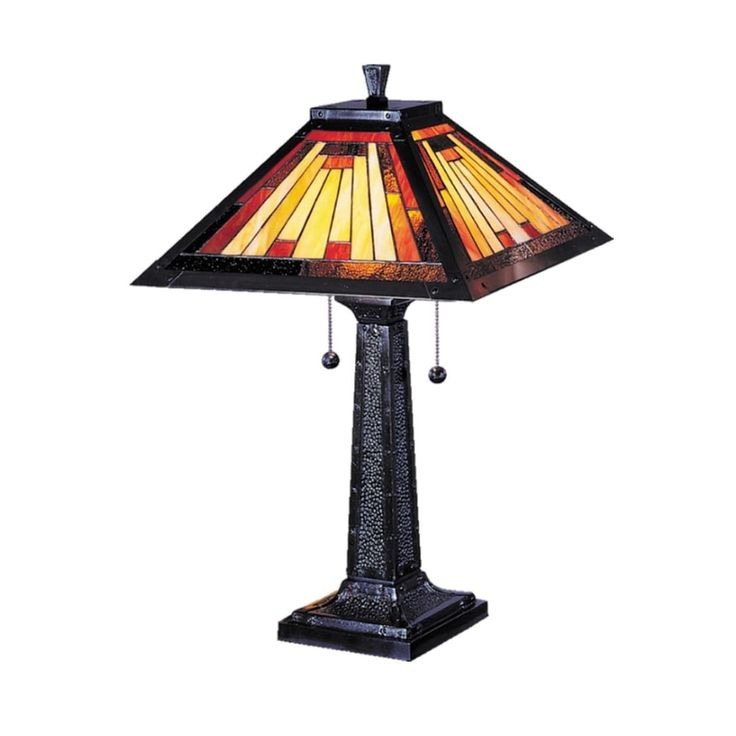 24 Mica Bronze Mission-Style Camelot Hand Rolled Art Glass Table Lamp, Black