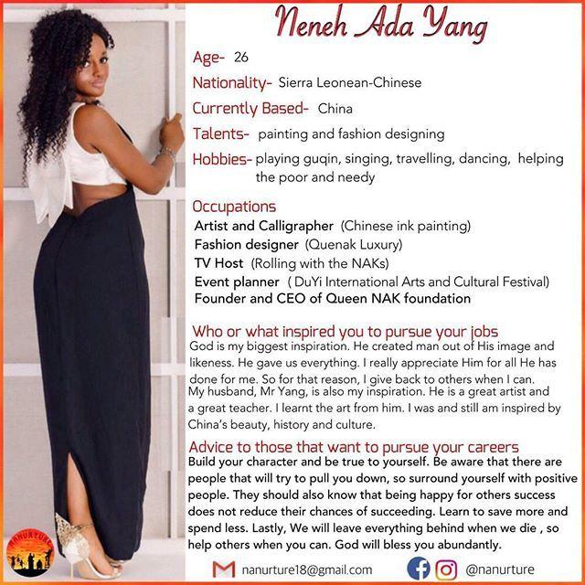 We are crushing on @queennak this week. She is Queen NAK. The Mango Goddess herself.Salone-China connection  Follow us @nanurture. . . #nanurture  #sierraleoneanskillingit #switsalone #irepsalone #africa #westafrica #sierraleone #china #sierraleonean #chinese #african # #artsy #artlife #artist #gupin #eventplanner #fashion #fashiondesigning #design #calligraphy #calligrapher #tvhost #eventprofsuk #eventprofs #meetingplanner #meetingplanner #meetingprofs #inspiration #popular #trending…