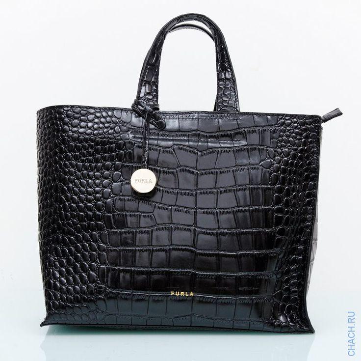 Женская кожаная сумка Furla (Фурла) Divide-it черная. Натуральная кожа с выделкой под крокодила