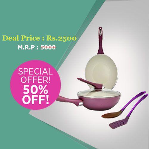 Get Flat 50% Off On Bergner Ceramic Coated Non Stick #Cookware Set  Buy :goo.gl/Z3rlzL https://www.facebook.com/estoorIndia/posts/485969341588102