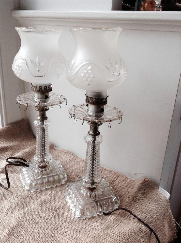 Antique Vintage Etched Crystal Glass Hurricane Lamp Grape