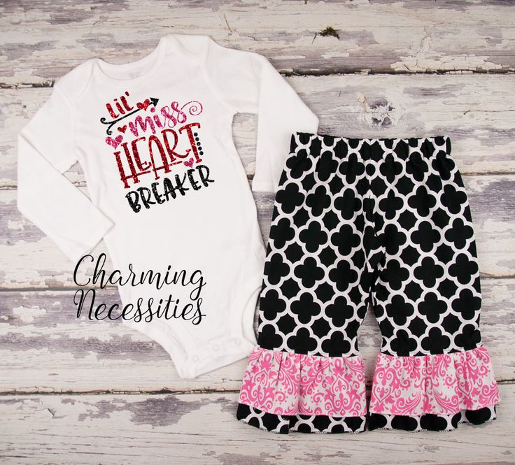 Little Miss Heart Breaker black quatrefoil ruffle pants set - Baby Girl First Valentines Day Outfit - Toddler Girl Valentines Day Outfit - Valentines Day Clothes