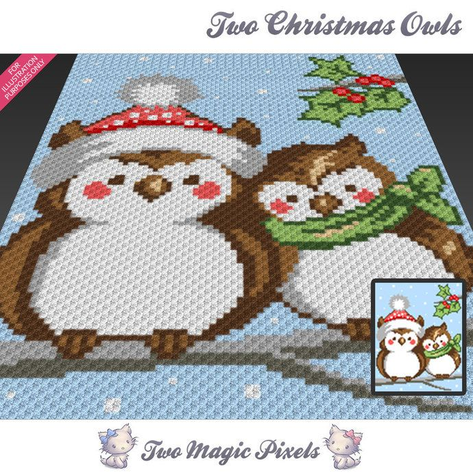 Two Christmas Owls c2c graph crochet pattern; instant PDF download; baby blanket, corner to corner pixel, afghan, graphghan, cross stitch by TwoMagicPixels, $4.74 USD