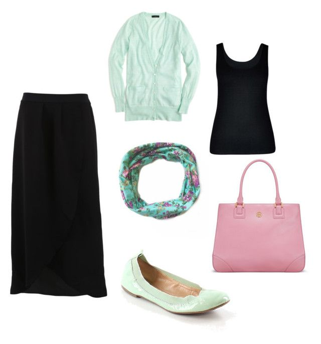 """black maxi skirt outfit"" by beegblu on Polyvore featuring FRACOMINA, City Chic, J.Crew, Banana Republic and Tory Burch"