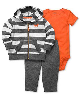 Carter's Baby Set, Baby Boy Striped Jacket, Bodysuit & Pants - Kids Newborn Shop - Macy's