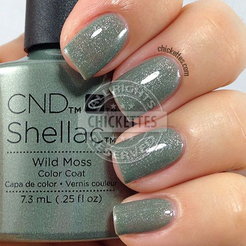 CND Shellac Wild Moss - swatch by Chickettes.com. CND Shellac is available at www.esthersnc.com