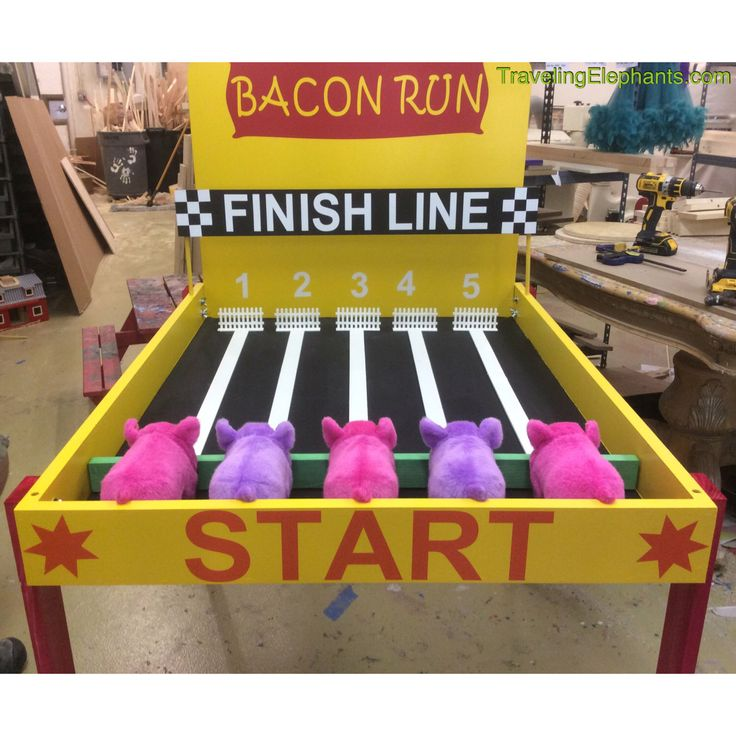 Pig Race Game, Mr Bacon Piggy Race Carnival Game, Piggy Speedway, birthday games, family reunion games, corporate games, fundraiser games by TravelingElephants on Etsy https://www.etsy.com/listing/461448994/pig-race-game-mr-bacon-piggy-race